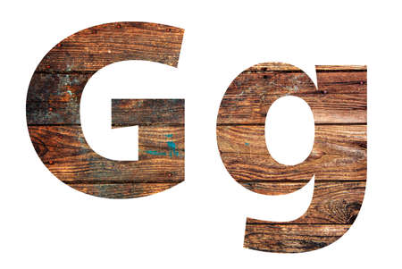 Wooden letters. Letter G. English alphabet isolated on white background.