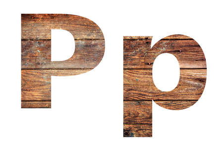 Wooden letters. Letter P. English alphabet isolated on white background.