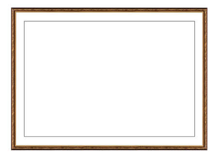 old gold wooden frame for picture or photo, frame for a mirror isolated on white background. With clipping path