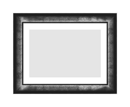 old black wooden frame for picture or photo, frame for a mirror isolated on white background. With clipping path