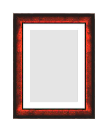 red wooden frame for picture or photo, frame for a mirror isolated on white background. With clipping path
