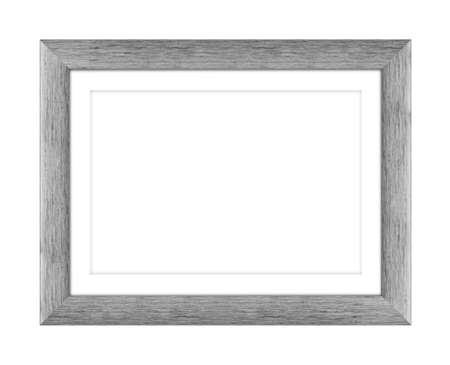 old gray wooden frame for picture or photo, frame for a mirror isolated on white background. With clipping path