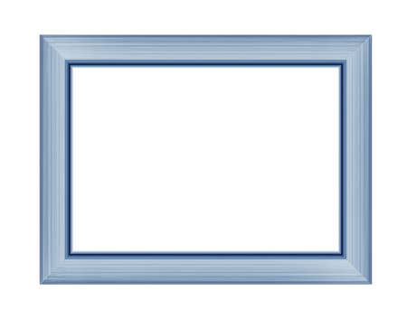 Blue frame for picture or photo, frame for a mirror isolated on white background. With clipping path
