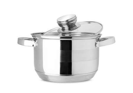 Stainless steel pot, kitchen tools isolated on white background. With clipping path