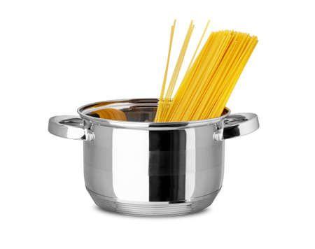 Italian spaghetti in stainless pot isolated on white background. With clipping path