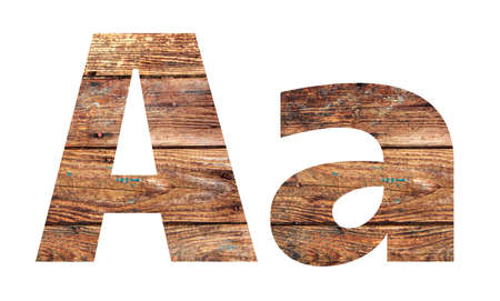 Wooden letters. Letter A. English alphabet isolated on white background. With clipping path