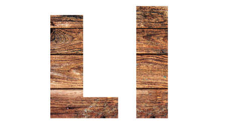 Wooden letters. Letter L. English alphabet isolated on white background. With clipping path