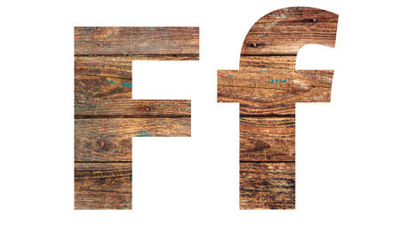 Wooden letters. Letter F. English alphabet isolated on white background. With clipping path Banco de Imagens