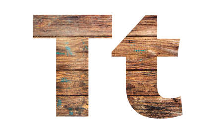 Wooden letters. Letter T. English alphabet isolated on white background. With clipping path