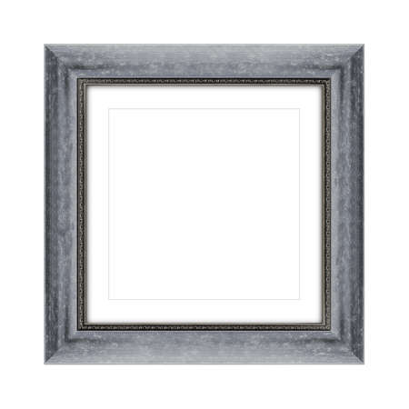 gray color wooden frame for picture or photo, frame for a mirror isolated on white background. With clipping path Banco de Imagens
