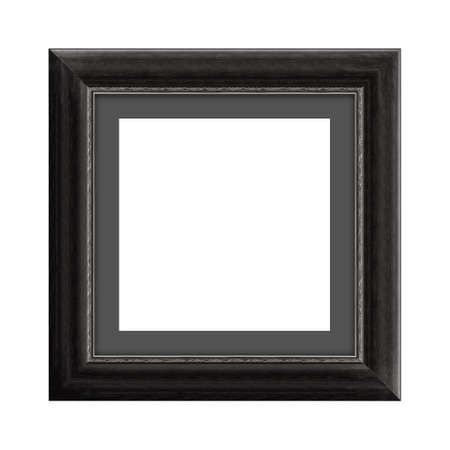 black wooden frame for picture or photo, frame for a mirror isolated on white background. With clipping path Banco de Imagens