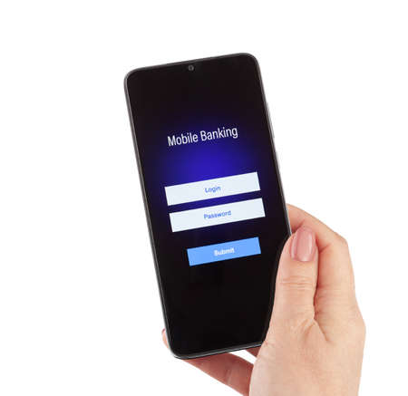 Female hand hold mobile banking on a smartphone on white background
