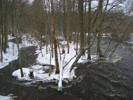 winter landscape, winter river, fast flowing water, cold day photo