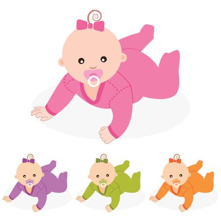girl lying down: Baby girl Vector illustration  Illustration