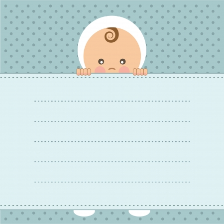 baby s: Baby boy announcement card  Vector illustration