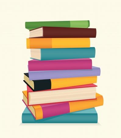 libro caricatura: Pila de libros coloridos ilustración vectorial