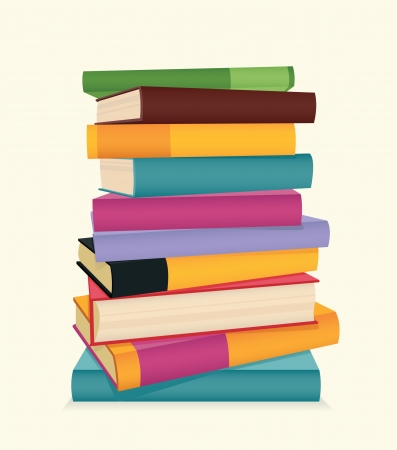 Stack of colorful books  Vector illustration