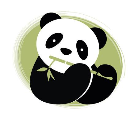 Panda with bamboo  Vector illustration  Ilustração