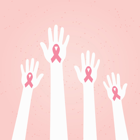 Hands with Pink Breast Cancer Awareness Ribbon Ilustrace