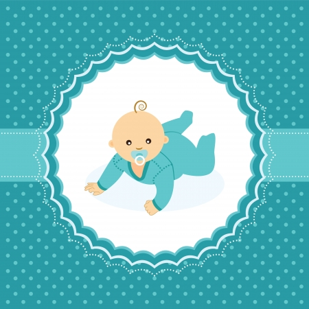crawling baby: Baby boy announcement card  Vector illustration