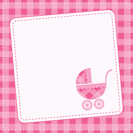Baby girl announcement card  Vector illustration  Illustration