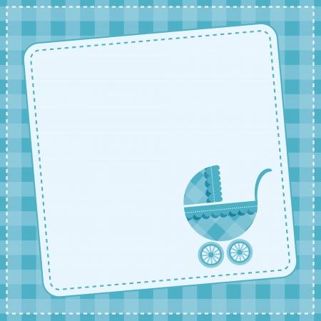 buggy: Baby boy announcement card  Vector illustration