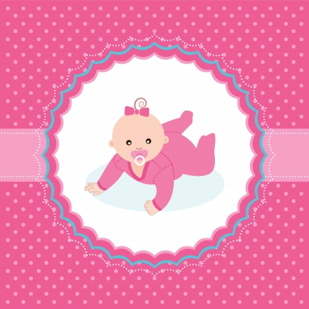 crawling baby: Baby girl announcement card  Vector illustration  Illustration