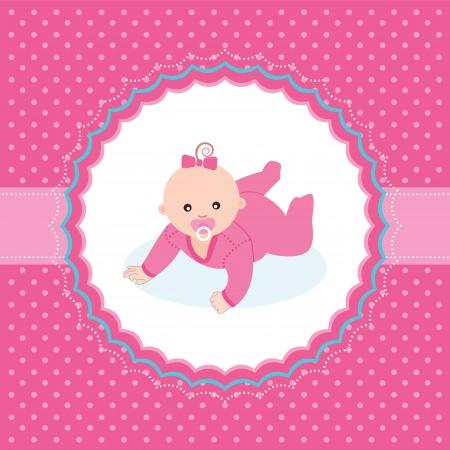 bebe gateando: La niña Tarjeta de presentación de ilustración vectorial Vectores