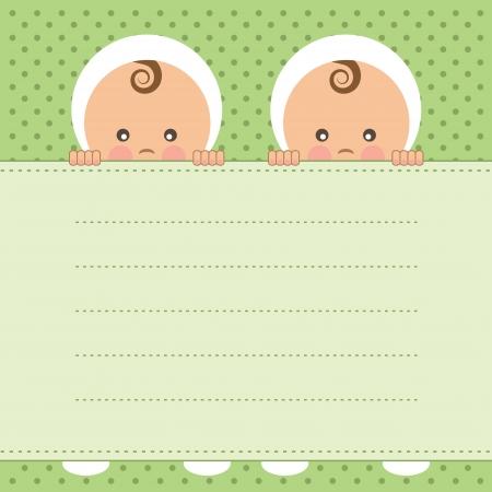 赤ちゃんの双子の発表カード ベクトル イラスト  イラスト・ベクター素材