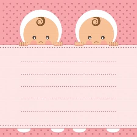 赤ちゃんの女の子の双子発表カード ベクトル イラスト