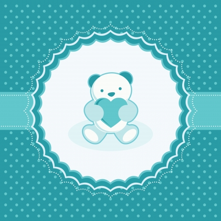 Greeting card with teddy bear for baby boy  Vector illustration  Illustration