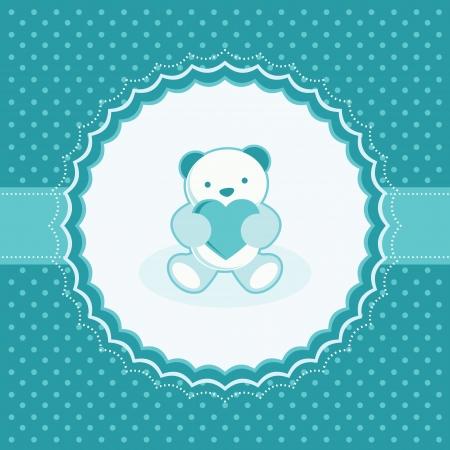 aquamarin: Gru�karte mit Teddyb�r f�r Baby Vektor-Illustration Illustration