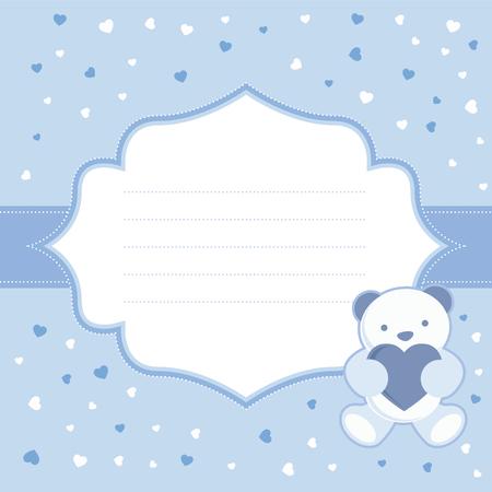 赤ちゃん男の子ベビー シャワー ベクトル イラストのテディベアと青のグリーティング カード  イラスト・ベクター素材