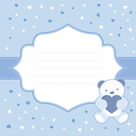 Blue greeting card with teddy bear for baby boy  Baby shower  Vector illustration  Vector