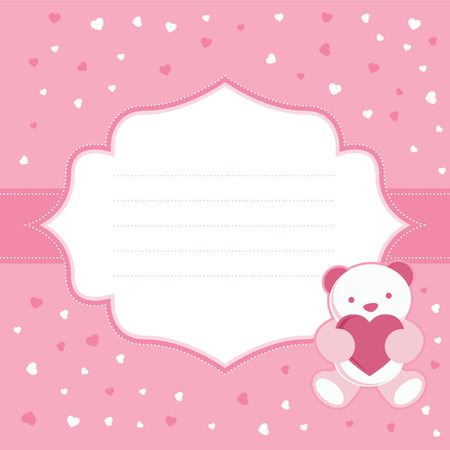 girl in shower: Pink greeting card with teddy bear for baby girl  Baby shower  Vector illustration