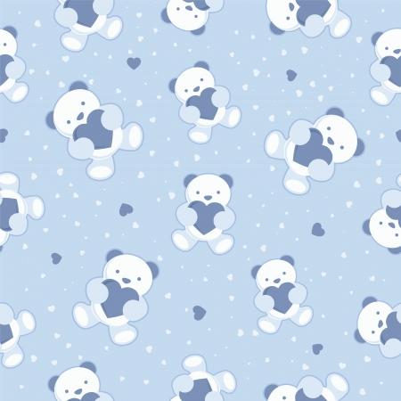 behang blauw: Naadloze blauwe achtergrond van de baby met teddybeer en harten Vector illustratie
