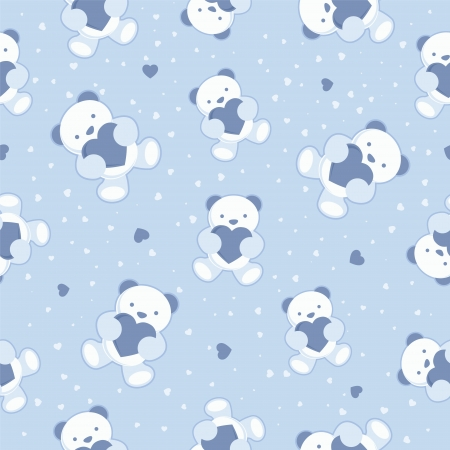 Seamless Blue Baby Background with teddy bear and hearts  Vector illustration