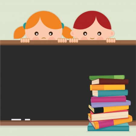 Back to school  Back to school-kids, blackboard and books  Vector illustration  Vector