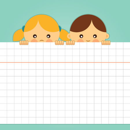 Girl and boy holding a blank squared paper sheet  Vector illustration