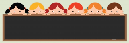 Back to school Kids holding a blackboard  Vector illustration  Ilustrace