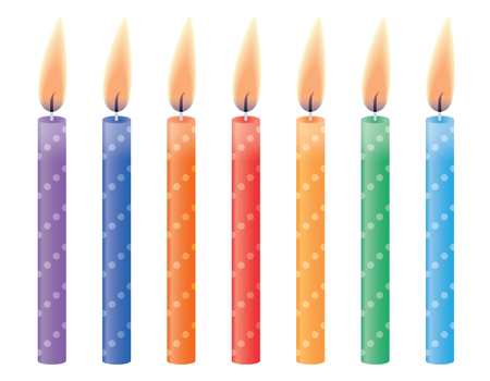 lit candles: Birthday candles  Vector illustration