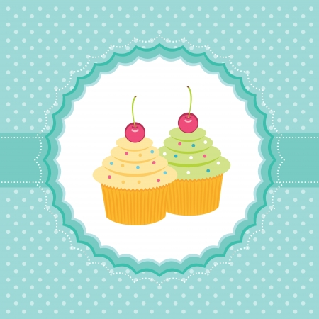 Card with cupcakes  Vector illustration Vector