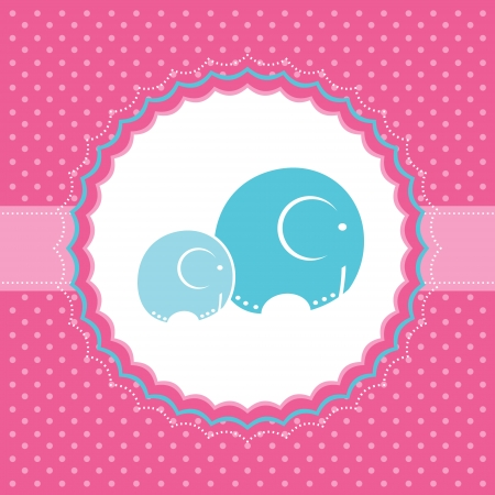 two animals: Baby girl announcement card  Vector illustration  Illustration