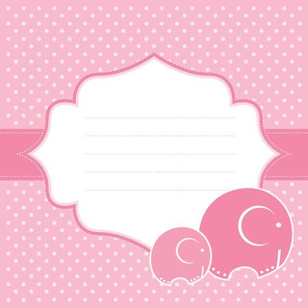 赤ちゃんの女の子の発表カード ベクトル イラスト