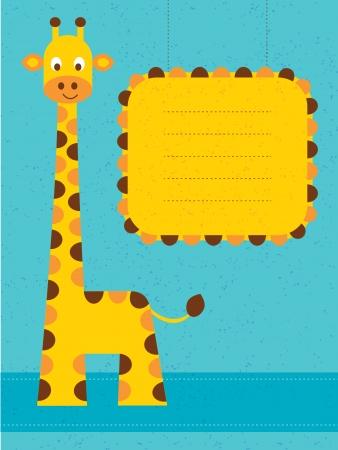 giraffe frame: Baby shower card   birthday card with giraffe Vector illustration