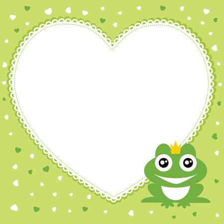 The frog prince with heart shape frame  Vector illustration  Vector