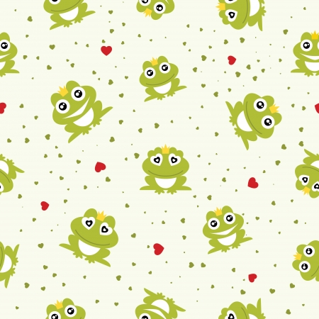 frog prince: Frog Prince seamless background  Vector illustration