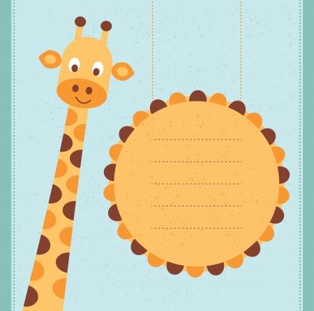 Carte d'anniversaire de carte de douche de bébé avec girafe Vector illustration Banque d'images - 23508738