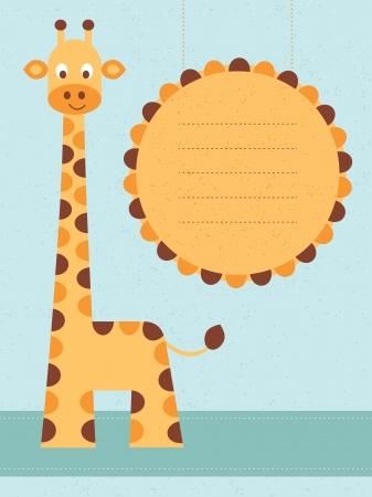baby giraffe: Baby shower card   birthday card with giraffe Vector illustration