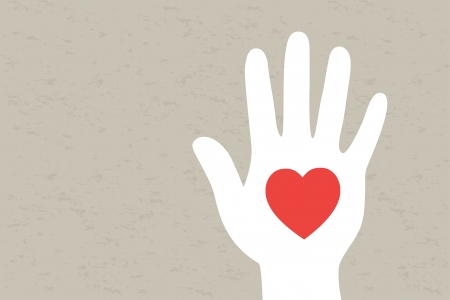 Hand with heart  Vector illustration